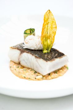 FOUR Fish Friday Recipes from Simon Hulstone | Roasted Sea bass with a crab, courgette and Kikkoman soy risotto | FOUR Magazine