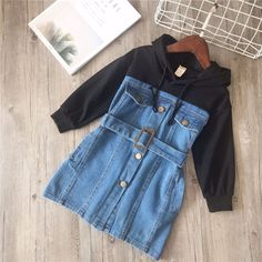 Cheapest Mihkalev baby dress for girl long sleeve dress withe sahes 2019 spring children hoodies jeans dresses kids leisure clothing Teen Fashion Outfits, Mode Outfits, Denim Fashion, Outfits For Teens, Trendy Outfits, Girl Outfits, Punk Fashion, Lolita Fashion, Woman Fashion