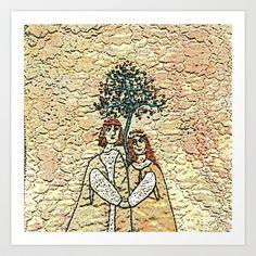 Medieval couple in love Art Print by Bozena Wojtaszek  - $15.60
