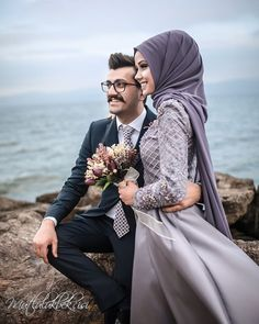 Accumulate beautiful memories with love, let us witness your most special moments 👰ð . Accumulate good memories with love, let us witness your most special moments 👰🏻💜🤵🏻 Hijabi Wedding, Muslim Wedding Dresses, Muslim Brides, Cute Muslim Couples, Cute Couples, Couple Posing, Couple Shoot, Hijab Gown, Hijab Makeup