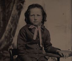 OLD VINTAGE ANTIQUE TINTYPE PHOTO of CUTE YOUNG BOY IN LOVELY DRESS & RINGLETS | eBay