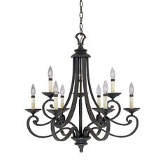 Designers Fountain Monte Carlo 9-Light Hanging Natural Iron Chandelier 9039-NI at The Home Depot - Mobile