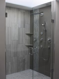 Flooring, Exquisite Modern Bathroom Design With Dim Gray 12x24 Tile Wall Color Also Modern Glass Door Design With Cool Chrome Mixer Tap And Shower Head Also Minimalist Shelf Design Also Exciting Mosaic Tile Floor Design: Bring the Elegance to Your House with 12 X 24 Tile!