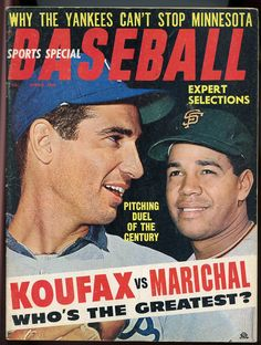 baseball magazines 1966 | Baseball Magazine Sports Special Spring 1966 Koufax Vs Marichal Cover ...