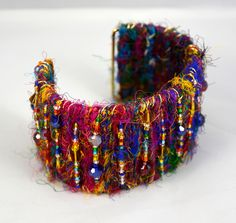 Sari silk, crystals & wire cuff. Beadwork by cgm