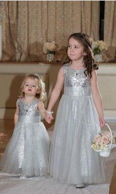 Tulle A-line Flower Girl Dresses, Sequins Wedding Girl Dresses