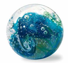 Hand Blown Glass Paperweight - Tropical Storm