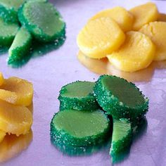 Fun cookies to make for St. Patrick's Day--or any day. Kids like the color o-green, sparkle o-green sugar, and flavor o-mint.
