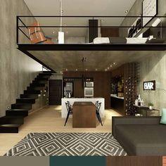 Loft | Outro ângulo mostrando o mezanino onde fica a parte íntima do loft, separada, mas ao mesmo tempo toda integrada. #loft #mezanino #arquitetura #interiores #projeto #interiordesign #decor #architecture #3d #vray