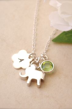 Peridot Necklace Personalized Elephant Necklace