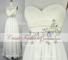 White Strapless Sweetheart Beading Chiffon Prom by CassieFashion, $139.00
