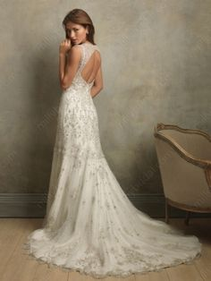 A-Line V-neck Satin Sweep Train Wedding Dress