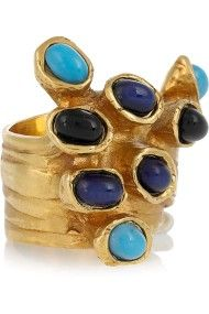 Yves Saint Laurent Arty Goldplated Glass Ring in Blue (gold)