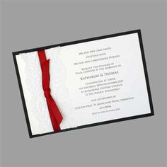 Layered Postcard Size Wedding Invitation with Lace and Ribbon