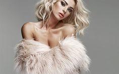 Herunterladen hintergrundbild monika synytycz, blond, model, schöne frau, make-up für blondinen