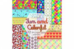 Fun and Colorful digital papers seamless pattern from DesignBundles.net