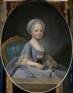 This portrait of a young Madame Elisabeth by Joseph Ducreux was painted in the same year that her new sister-in-law, Marie Antoinette, arrived from Vienna. Reading Treasure: A quick look at Madame Elisabeth by Joseph Ducreaux, 1770 Joseph Ducreux, Pug Pictures, Pictures To Paint, Ferdinand, Pugs, Creepy Kids, Creepy Children, Carlin, Miniature Portraits