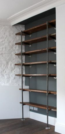 Industrial Shelving like this but bigger for behind the BAR CHOIR OF WALL!!!!