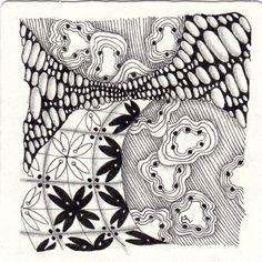 Ein Zentangle aus den Mustern Sternblumen, Orbs-La-Dee, Axlexa,  gezeichnet von Ela Rieger, CZT