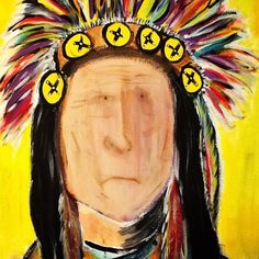 #indianchief w/ acrylic on canvas by Lindsey Johnson