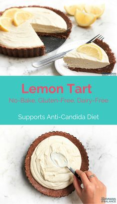Lemon Tart: I hope you will love this sugar-free dessert. This creamy no-bake lemon tart is also gluten free, grain-free and has a delightful citrus flavor. Good to satisfy sugar cravings when on anti-Candida diet. Gluten Free Lemon Tart Recipe, Lemon Recipes, Tart Recipes, Dessert Recipes, Healthy Recipes, Anti Candida Recipes, Anti Candida Diet, Candida Cleanse, Cleanse Diet