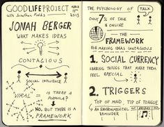 """Sketchnotes of Good Life Project Interview with Jonah Berger for his book """"Contagious"""""""