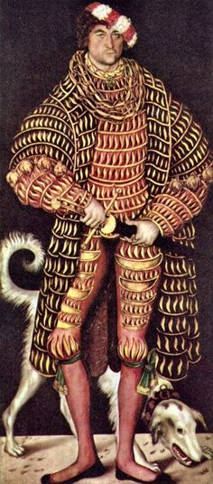 'Portrait of Henry IV of Saxony (1473-1541),' (1514), by German Renaissance painter Lucas Cranach the Elder (1472-1553). Oil on panel, 72.6 x 32.5 in. collection: Gemäldegalerie Alte Meister, Dresden. source: wikimedia. via my ear trumpet