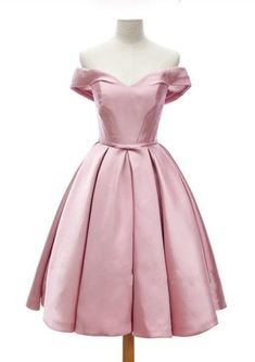 Cute Pink Satin Homecoming Dresses, Satin Short Prom Dresses, Knee Length Off Occasion Dresses, Homecoming Dresses 2017, Pink Prom Dresses, Satin Dresses, Prom Party Dresses, Bridesmaid Dresses, Formal Dresses, Wedding Dresses, Grad Dresses