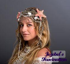 Oceana Mermaid Siren Sea Headdress Pink Starfish Glittery Fish Net Pearls…