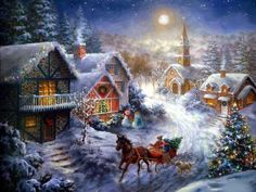 Thomas Kinkade. Christmas scene. The details, color and light are quite striking in this painting.