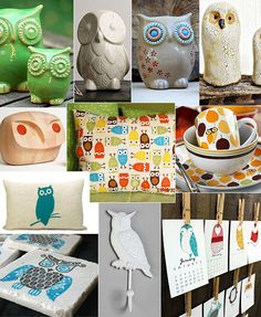 I LOVE owls as a motif and this whole collage of owly things just makes me SMILE! :)