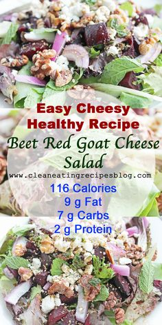 Click pin for today's easy cheesy healthy Beet & Goat Cheese Salad! #...