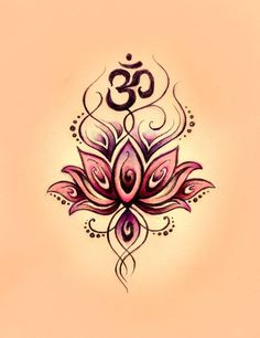 Amazing Om Symbol n Lotus Tattoo Design