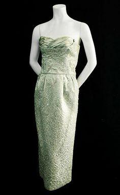 Ceil Chapman beaded satin dress, c.1950