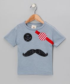 Gray Captain Pirate Mustache Tee - Infant, Toddler & Boys