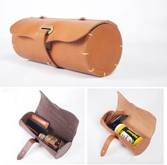 Leather Bicycle Front bag Saddle bag Rollcake Bag por Handmade7shop