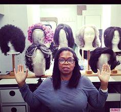Oprah With No Makeup: Wigging Out on Set! Oprah With No Makeup: Wigging Out on Set! Celebs Without Makeup, Oprah Winfrey Show, Stop Hair Loss, Mannequin Heads, She Girl, Wig Making, Afro Hairstyles, Nicki Minaj, On Set
