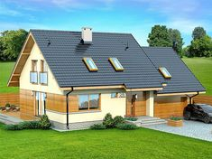 Projekt domu Lisandra 2M 122,9 m2 - koszt budowy - EXTRADOM Double Garage, Balcony Design, House Plans, Shed, Exterior, Outdoor Structures, Cabin, Mansions, House Styles