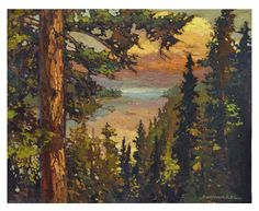 """Jan Schmuckal - Sunset Over The Cove - 16""""x 20"""" - Craftsman - Pines - Bunglow - Grove Park Inn Arts & Crafts Conference 2014"""