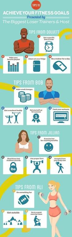 Biggest Loser trainer tips - Infographic (food tips squat motivation)