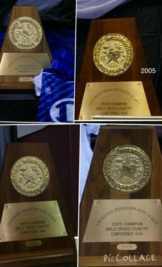 Girls State championship trophies...1999, 2005, 2008, 2009. In 2005 both boys and girls teams won!!