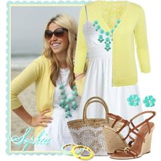 White dress lemon cardigan turquoise necklace