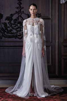 Monique Lhuillier i need a white lace cape for everyday whites