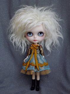 Blythe Silk and Brocade Blue/Gray/Brown/Mustard Dress