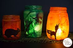 Although these spooky Halloween lanterns look effective, they take no time at all to make. In fact, you could have them ready in 10 minutes from start to finish once you sit down with the few things y