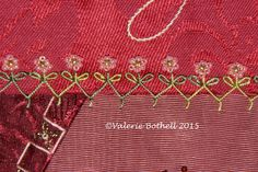 Crazy Quilt Stitch #77, Cretan Stitch + Lazy Daisy Leaves + Beaded Flowers ©Valerie Bothell 2015