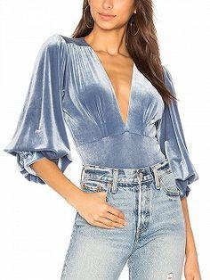 Shop for MISA Los Angeles Reem Bodysuit in Blue Velvet at REVOLVE. Velvet Tops, Blue Velvet, Fashion Tips For Women, Womens Fashion, Velvet T Shirt, Velvet Body Suit, Plunge Bodysuit, Pullover Shirt, Velvet Fashion
