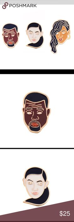 Kayne, Kim K and Rihanna Pin Set All pins are gold tone with vibrant color. Really cool item and great in quality. Kayne West pin is 1.25 inches long. Kim K pin is 1.25 inches long. Rihanna pin is 1.5 inches long. Double pins in the back for added security. Jewelry Brooches