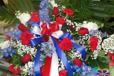 We do custom funeral work. Traditional and non traditional for when it matters. Let us help you make it beautiful! Funeral Arrangements, Flower Arrangements, Funeral Sprays, Casket Sprays, Cemetery Decorations, Cemetery Flowers, Funeral Flowers, 4th Of July Wreath, Red And White