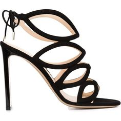 Nicholas Kirkwood 'Eyeliner' sandals ($995) ❤ liked on Polyvore featuring shoes, sandals, black, open toe high heel sandals, black shoes, black suede sandals, black strappy shoes and black strap sandals
